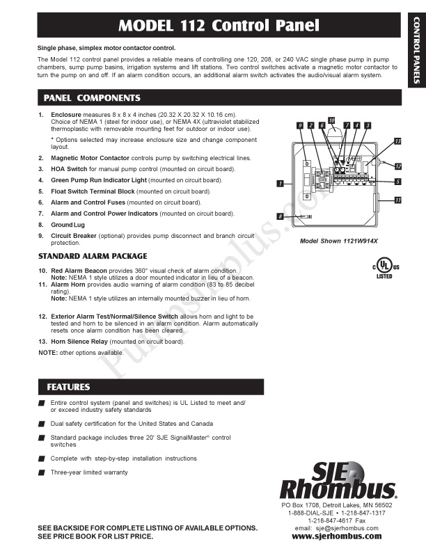 sje rhombus model 112 simplex motor contactor control Residential Septic Lift Station Wiring